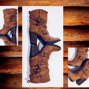 STEVE MADDEN Boots Strappy Buckle Leather